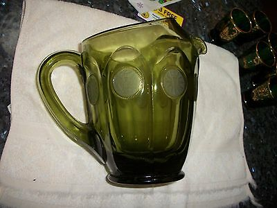 """Fostoria Avocado Green Frosted Coin Dot 6 1/2"""" Pitcher - NR"""