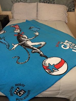 Cat in the Hat Dr Suess  RARE fleece blanket throw NEW