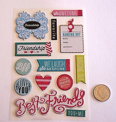 Scrapbooking No 052 - 13 Small To Medium Chipboard Friends Saying Stickers