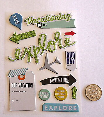 Scrapbooking No 072 - 13 Piece Chipboard Travel Themed Stickers