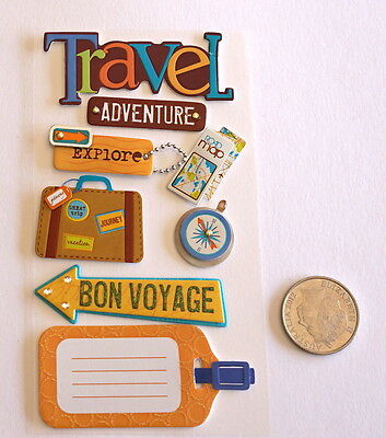 Scrapbooking No 416 - 8 Small To Medium Travel Saying Stickers Pack