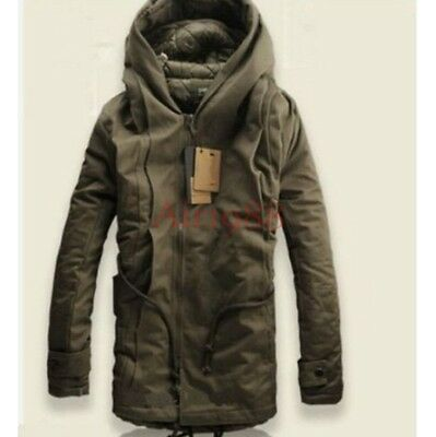 NEW Winter Mens Military Trench Coat Ski Jacket Hooded Parka Thick Cotton M-5XL