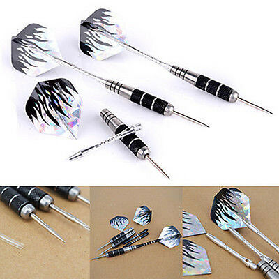 3 Set Tungsten Steel Needle Tip Darts With Black Nice Fire Dart Flights Throwing