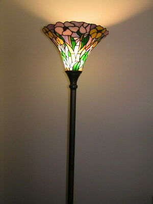 Last one@ Flower Leadlight Stained Glass  Tiffany  Floor Torchiere Lamp