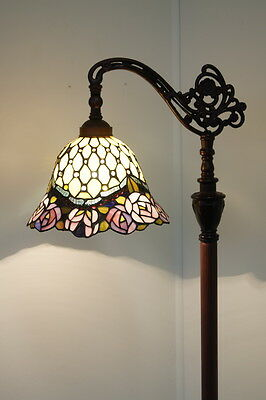 2016 new arrival@Gorgeous Rose Style Stained Glass Bridge Arm Tiffany Floor Lamp
