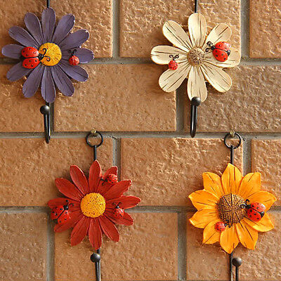 New Clothes Single Hook Daisy Ladybug Wall Hanger Home Decorative Towel Holder