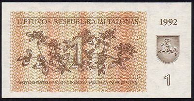 1992 Lithuania 1 Talonas Banknote * Unc * P-39 *