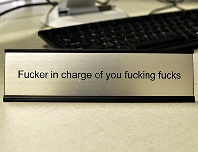 Funny Desk Plate for Boss - Gag Gift is brushed silver with black engraving NEW