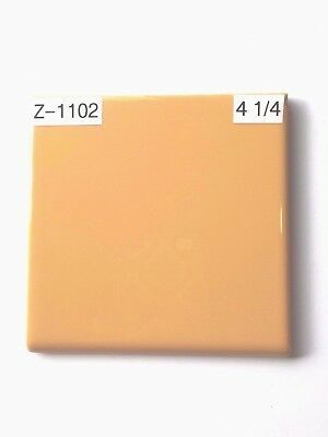 "(Z-1102B)  1 Pc NOS Vintage Ceramic Tile 4 1/4"" Pumpkin Orange Glossy Bullnose"