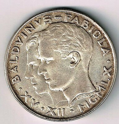 Belgium 1960 50 Francs King Baudouin's Marriage .835 Silver Foreign Coin