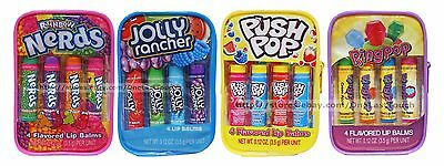 LOTTA LUV 5pc Lip Balm/Gloss Set CANDY FLAVORED Clear Case/Bag NEW! *YOU CHOOSE*