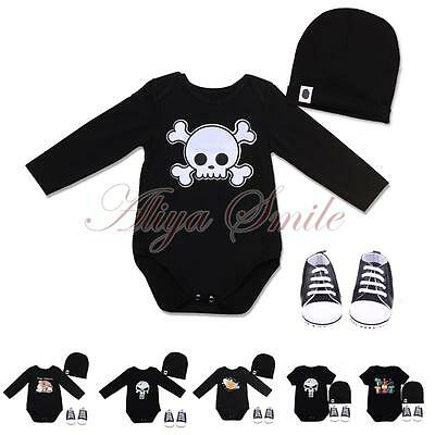 Halloween Infant Baby Boy Girl Outfits 3pcs Romper+Hat+Shoes Clothes Costume Set