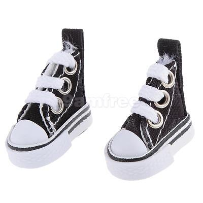 Pair of Lace Up Canvas Shoes for 1/6 Barbie Blythe Pulip Dolls Clothes Black