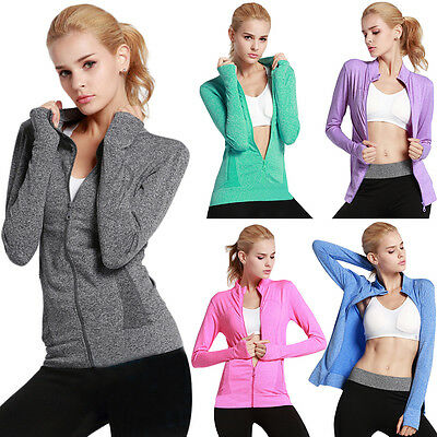 Women Gym Yoga Long Sleeve Shirts Quick Dry Fitness Running Full Zip Coat S-L