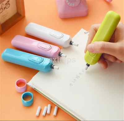 4 Colors Battery Operated Electric Eraser Automatic Stationery Child Day Gift US