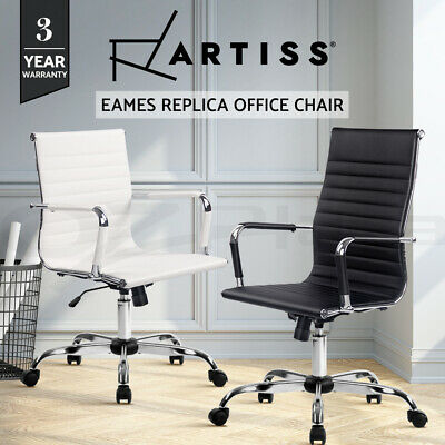 Eames Replica HIGH BACK Office Chair Executive Computer PU Leather Black White