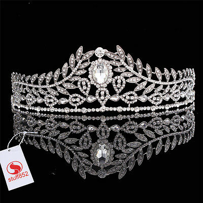 Baroque Crystal Queen Crown Tiara Headband Silver Hair Comb Prom Pageant