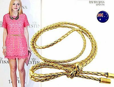 Women Narrow Skinny Slim Gold silver Synthetic Leather Braided Waist band Belt