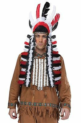Indian Native American Chief Black Red Feather Headdress Costume War Headpiece