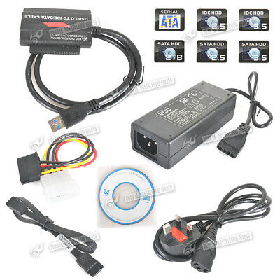 """USB 3.0 to 2.5""""/3.5"""" HD HDD SATA IDE Adapter Converter Cable Power Supply OTB"""