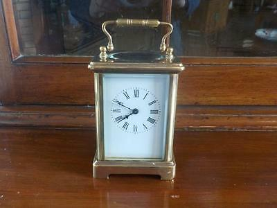 Antique / Vintage Brass French Carriage Mantel Clock With Key
