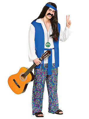 Mens Adult Flower Power 60s 70s Hippy Groovy Hippie Fancy Dress Costume S - XL