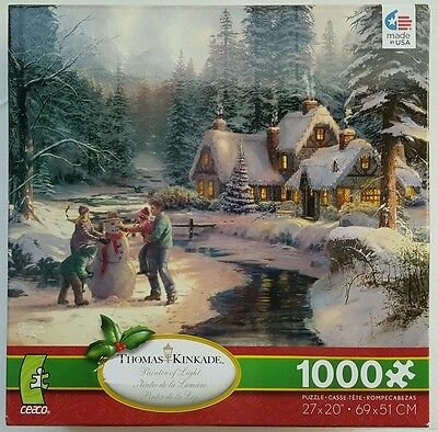 CEACO® 1000pc THOMAS KINKADE HOLIDAY AT WINTER'S GLEN PUZZLE Jig Saw 1000 Piece