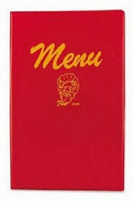 "Menu Cover, 7"" x 9-1/2"", double fold, vinyl plastic, Red!"