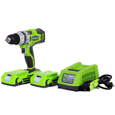 """Greenworks 24V Cordless 0.5""""  2-Speed Drill + 2 Batteries and Charger 