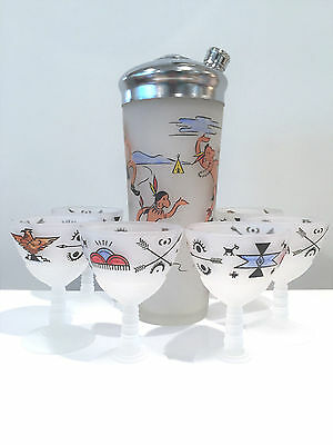 Vintage 1930s Cocktail Shaker Set in Frosted Glass with Western Scenes