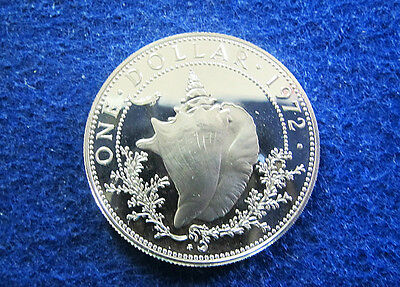 1972 Bahamas Silver Proof One Dollar - Conch Shell - Free U S Shipping