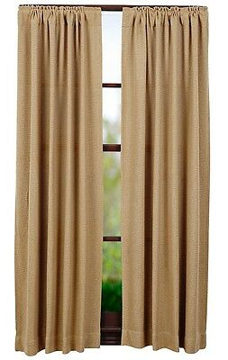 "Pair Country Primitive Burlap Natural Curtain Panels 84"" Rustic Farmhouse Cabin"