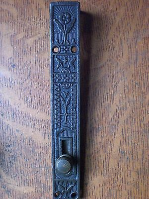 Antique Fancy Brass French or Double Door Mortised Top Bolt c1886