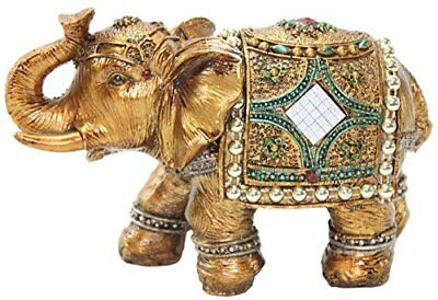 """Stunning Gold Color 6"""" Elephant Trunk Statue Wealth Lucky Feng Shui Figurine"""