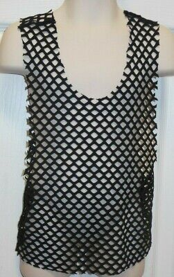 NWT Sleeveless Mesh tank shirt Racerback Sizes Black Dance Hiphop Lycra spandex