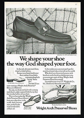 1975 Wright Arch Preserver Shoes God Shaped Foot Vintage Print Ad