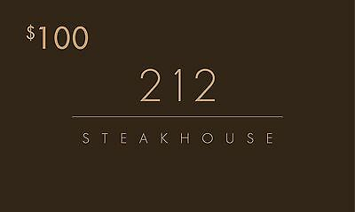 212 Steakhouse NYC Gift Certificate $100 for $70