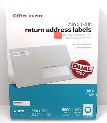 """Office Depot White Laser Labels 1/2"""" x 1 3/4"""" 940-873 NEW 8000 Labels"""