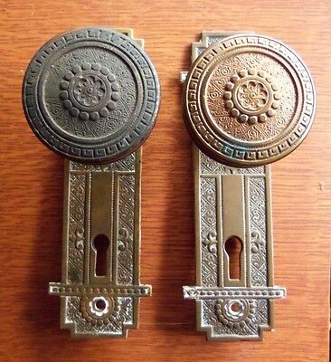 Antique Fancy Brass Vernacular Victorian Doorknobs Door Knobs & Plates c1885