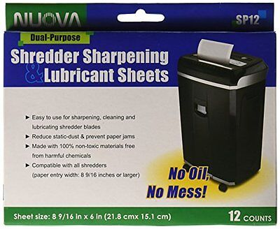 Nuova SP12 Shredder Sharpening & Lubricant Sheets, 12 Count New