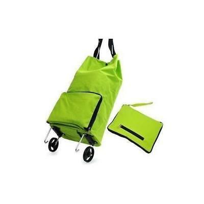 Kittymouse Collapsible Foldable Wheeled Shopping Cart Bag Green New