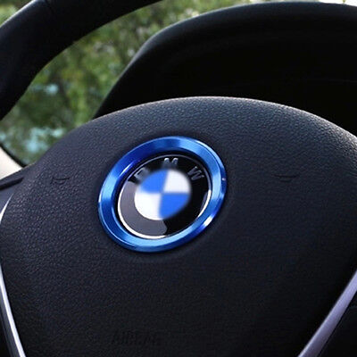Blue Car Steering Wheel Center Decoration Ring Cover For BMW1 3 4 5 7 Series New