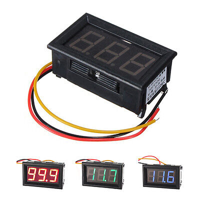 0.56 inch Red/Blue/Green LCD DC 0-100V Panel Meter Digital Voltmeter+ Three-wire