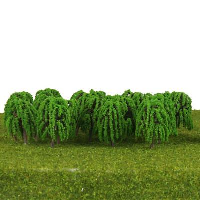 25pcs Model Willow Trees Layout Train Railway Diorama Scenery 1:150 N Scale