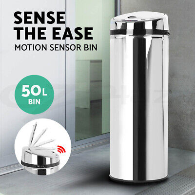 50L Stainless Steel Bin Rubbish Motion Sensor Waste Automatic Trash Kitchen