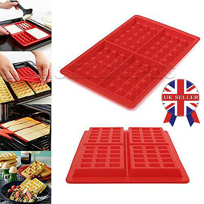 1x *UK Seller* Silicone Waffles Mould Muffin Pans Baking Cake Mold Tray Waffle