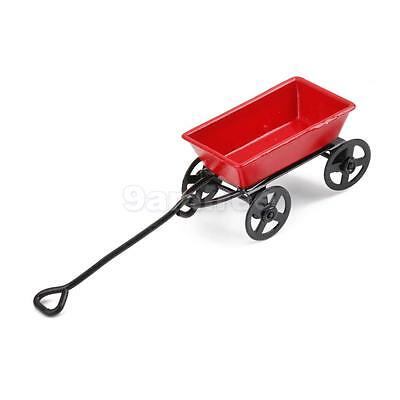1:12 Scale Red Pulling Cart for Dolls House Miniature Fairy Garden Accessory