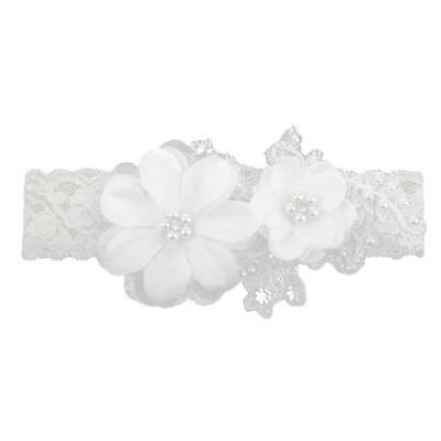 Vintage Lace Pearl Rhinestone Wedding Bridal Garter White Flower Stretch