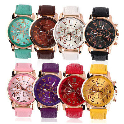 Fashion Unisex Color Original Women Men New PU Genuine Leather Watches ZA