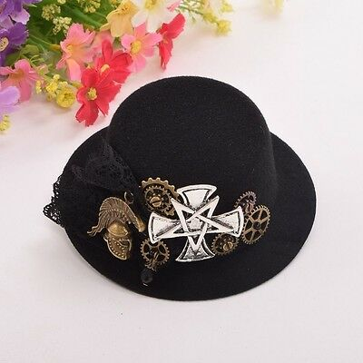 Steampunk Gear Mini Top Hat Hair Clip Women Victorian Cosplay Cross Headwear